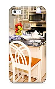 Fashion Tpu Case For Iphone 5c- Traditional Kitchen With Island Tile Countertop Granite Counter Pendant Lights Defender Case Cover