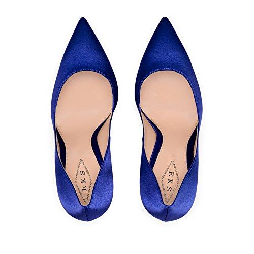 Blau Zapatos Sintético Material Eks seide De Para Mujer Vestir q0wnPCdx