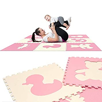 Extra Large Textured Jumbo Size 73 x 73 Puzzle Play Mat EVA Foam Non-Toxic Waterproof Interlocking Tiles Exercise Learn Modern Style – Pink White