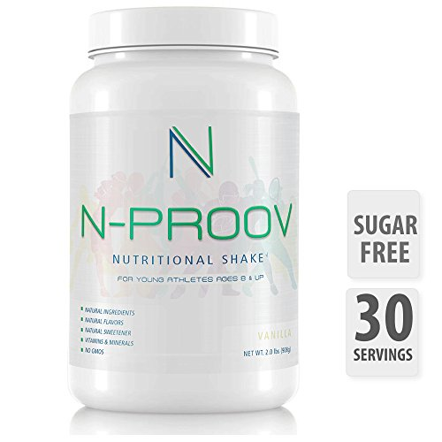 N-Proov Protein Shake Powder for Kids & Young Athletes, Natural Nutritional Meal Replacement, Healthy height, Muscle Grow, Tasty Breakfast Smoothie 14g Whey Protein Isolate Powder, Vitamins & Minerals