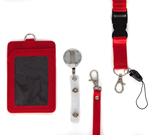 4 in 1 Leather ID Badge Holder with Retractable Reel, Lanyard Clip and Leather Necklace Strap - Double Sided, Two Back pocket - Carries: ID, Credit Cards, Keychain, Money Wallet and Phone - Red Rose