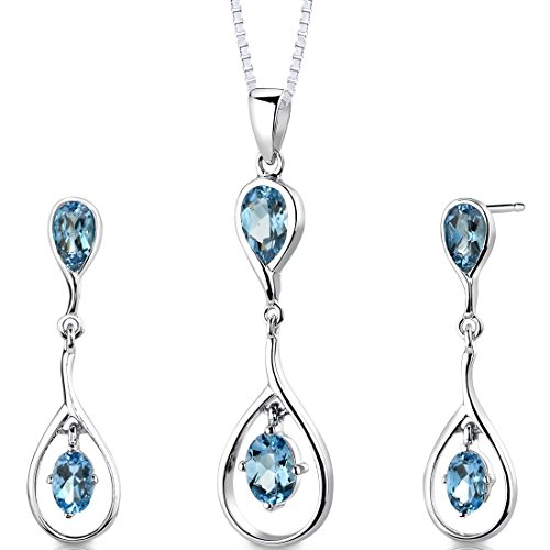 Swiss Blue Topaz Pendant Earrings Necklace Sterling Silver Rhodium Nickel Finish Pear and Oval Shape