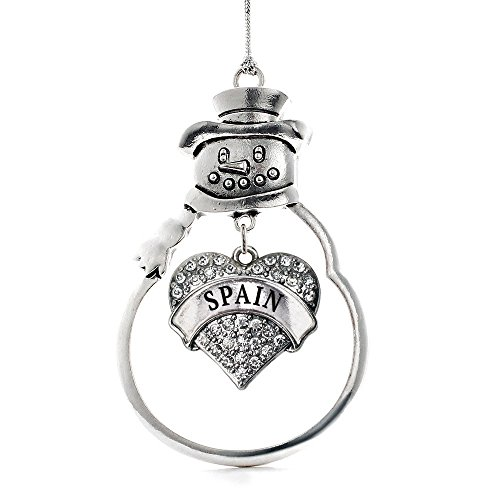 Inspired Silver Spain Pave Heart Snowman Holiday Christmas Tree Ornament With Crystal Rhinestones by Inspired Silver