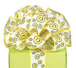 (Smiley/Happy Face # 9 Wired Satin Fabric Ribbon for Crafts, Sewing, and More)