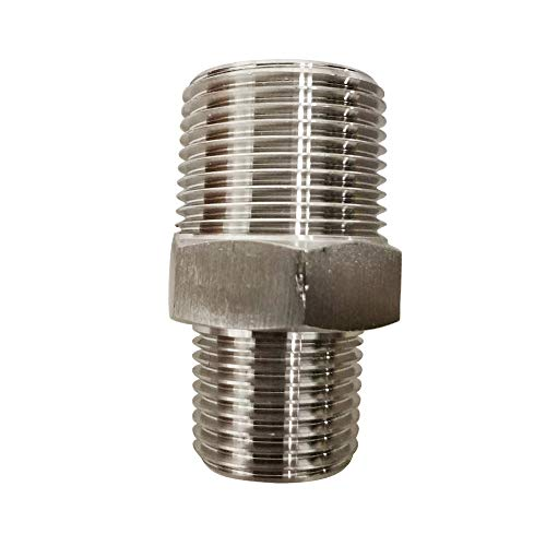 """Metalwork Stainless Steel 316 Reducing Pipe Fitting, Reducer Hex Nipple, 1/2"""" NPT Male x 3/8"""" NPT Male (1 Pc)"""