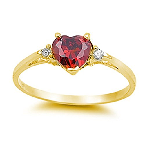 925 Sterling Silver Promise Ring Heart shape Simulated Ruby Yellow Tone Rhodium PL round clear CZ accent (Ring Ruby Diamond Heart)