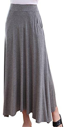 URqueen Women's Fashion Solid Color Foldover Comfy Maxi Skirt Lightgrey
