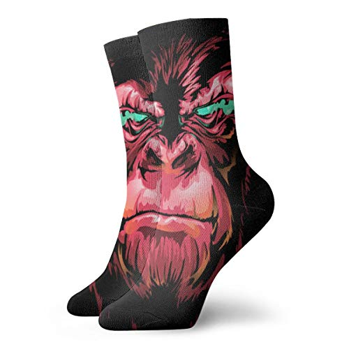 Gxcvsddgtrhgdq Adults Unisex Ferocious Red Gorilla Novelty Athletic Stoking Crew Long Socks for Men