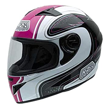 NZI 150196G632 Must Casco de Moto, Color Blanco, Negro y Rosa, Talla 56