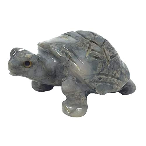 Nelson Creations, LLC Turtle Natural Soapstone Hand-Carved Animal Charm Totem Stone Carving Figurine, 1.5 Inch