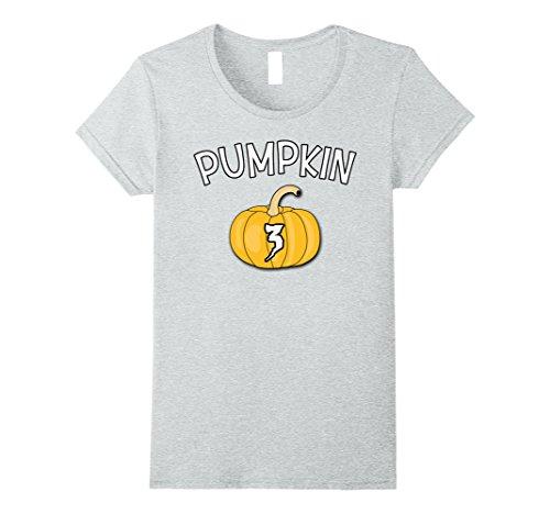 Womens Pumpkin No 3 - Halloween costume t shirt couple friend group Small Heather Grey