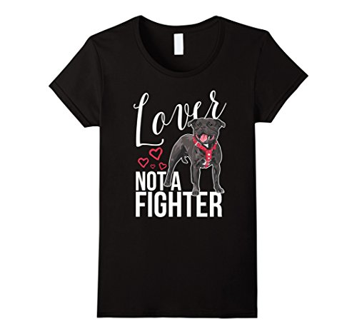 Pit Bull Ladies T-shirts (Womens Pit Bull T-Shirt: Lover Not a Fighter, Pit Bull Mom, Dad. Medium Black)
