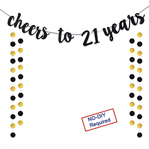 Cheers to 21 Years Gold Glitter Banner For Adult 21st Birthday Party Supplies Wedding Anniversary Party Decorations]()