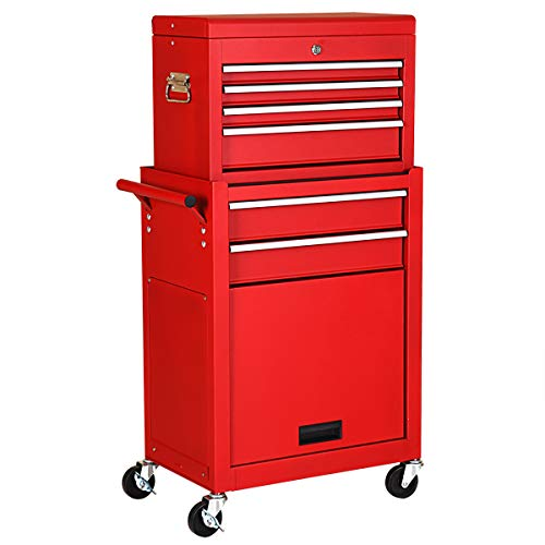 ing Tool Chest Removable Tool Storage Cabinet with Sliding Drawers, Keyed Locking System Toolbox Organizer (Red) ()