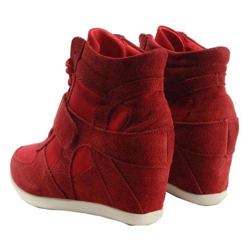 Zapatos Oculto Zapatillas Mujer Tacón Tela Rismart Cuña Rojo Gamuza Formal RwZ1qtx