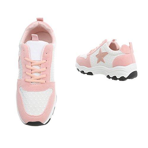 Ital-Design Sneakers Low Damenschuhe Schnürsenkel Freizeitschuhe Rosa Weiß G-114