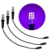 3 Pack Black Light Special Effects Ultraviolet led Bulbs 12 Volts dc with Cable Socket dc Barrel Connector for Themed environments Props Theatrical Scenery Fluorescent Paints Plastics pigments