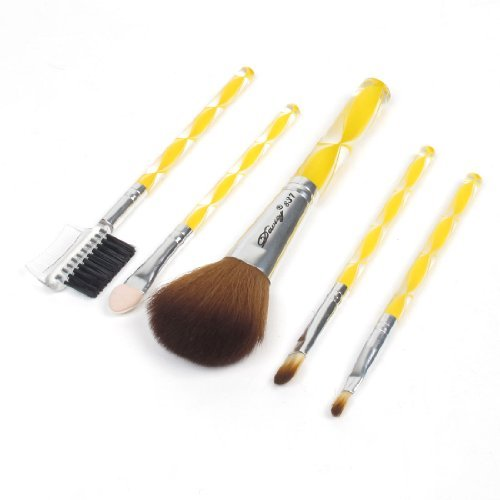 FOREVER YUNG 5 in 1 Round Plastic Handle Eyebrow Comb Blusher Brush Cosmetic Makeup Tool Set