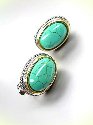 GORGEOUS Designer BALINESE Silver Cable Oval Turquoise Stone CLIP Earrings For Women Set