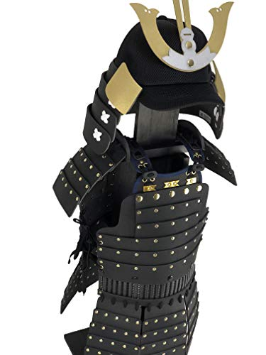 (Kids Japanese Samurai Black Body Armor & Helmet Costume, Design Based On Warlord Mori Motonari, Made in Japan, Yoroi-Kids-Black-152)