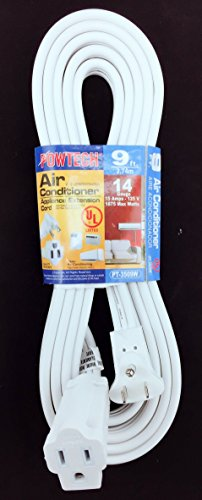POWTECH Heavy duty 9 FT Air Conditioner and Major Appliance Extension Cord UL Listed 14 Gauge, 125V, 15 Amps, 1875 Watts GROUNDED 3-PRONGED CORD Air Conditioner Heavy Duty Cord