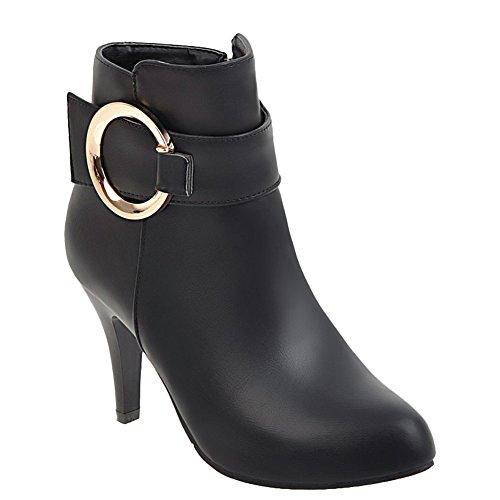 Carolbar Womens Pointed Toe Buckle Chic Zip Date Stiletto Short Boots Black IdaBm
