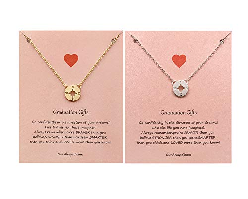 Your Always Charm Graduation Gifts for Her,Friendship Compass Necklace for Women,Best Friend Necklaces for 2 (B:Gold+Silver) (Best College For Distance Mba)