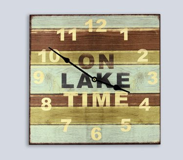 Heart of America On Lake Time Wood Lake House Clock