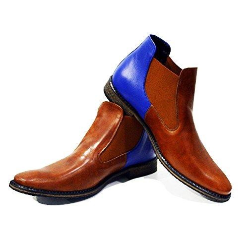 Italiano Stivali Handmade Uomo di Pelle Ceglie Scivolare Marrone Pelle Messapica da Morbido Modello in PeppeShoes su Chelsea Vacchetta nAqpUvRA