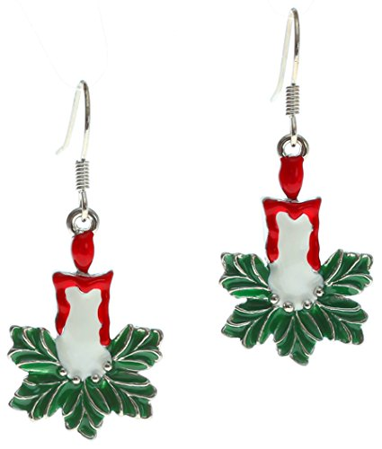Lova Jewelry Vintage Avon Enamel Christmas Candle Earrings (Avon Dangling Earrings)