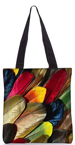 """Snoogg Plumas De Colores Einkaufstasche 13,5 X 15 In """"Einkaufstasche Dienstprogramm Trage Von Polyester Canvas"""