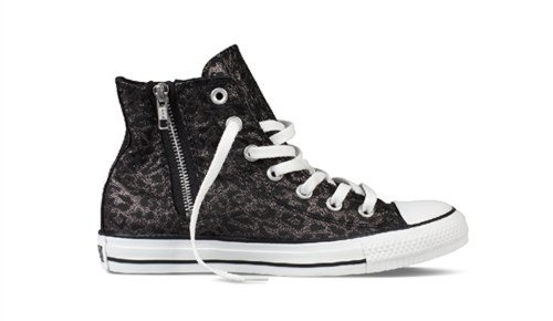 Converse The Chuck Taylor All Star Side Zip Hola Zapatillas De Deporte En Leopardo Negro