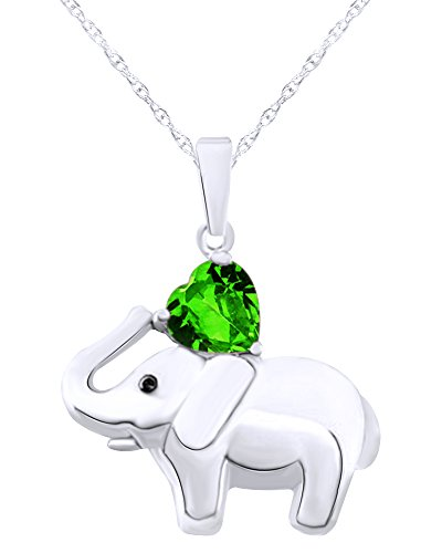 Wishrocks 14K White Gold Over Sterling Silver Elephant Pendant ()