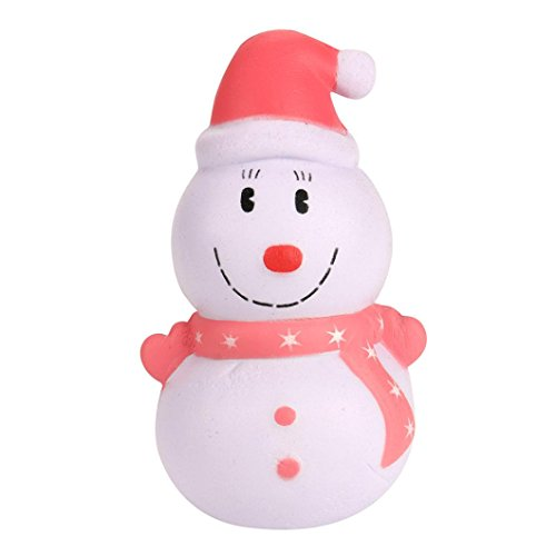 SMALLE Cream Scented Squishy Slow Rising Squeeze Christmas Toy Phone Charm Christmas Gift (Snowman-Red) (Charm Red Snowman)