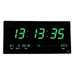 18.5 Oversized LED Digital Wall Clock/Calendar Large Display with Indoor Temperature Date and Day of Week,Electric Wall Mounted Desk Cock Timer Home Decor for Living Room/Kitchen/Classroom(Green)
