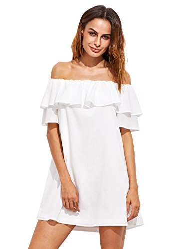 Milumia Women's Off Shoulder Ruffles Shift Loose Mini Dress White L