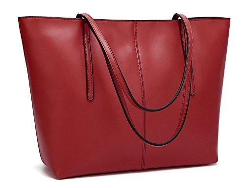 Obosoyo Women's Handbag Genuine Leather Tote Shoulder Bags Soft Hot Wine-red