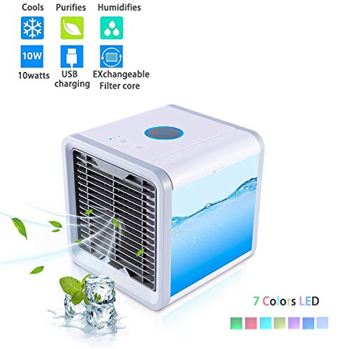 Zehui Trade Mini Air Conditional, Personal Space Air Cooler, 3 in 1 USB Mini Portable Air Conditioner, Humidifier, Purifier, Desktop Cooling Fan for Office Home Outdoor Travel by Zehui Trade
