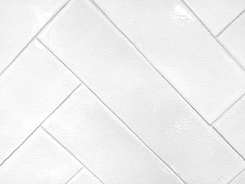 3x12 Handmade in Spain Glossy Finish White Crackled Ceramic Tile (1 Piece Sample)