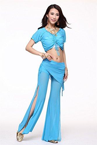 Danza del vientre Disfraz Set Bandage Yarn Top+See-through Wide Leg Pantalones Light Blue