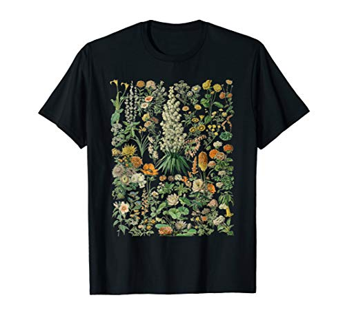 Vintage Inspired Flower Botanical Chart T-Shirt