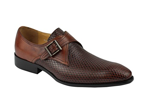 Herren Braun alle Echt Leder Schlangenleder Effekt Mönch Gurt Slip auf Loafer Schuhe 6,5789101111,5
