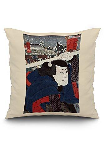 Actor Miyamoto Musashi Japanese Wood-Cut Print (20x20 Spun Polyester Pillow, White Border)