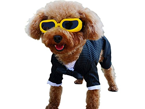 S-Lifeeling Gentleman Fashion Stripes Bowknot Dog Clothes Comfortable Design Pet Costumes Spring Summer Teddy Pet Suit (Winnie The Pooh Vest Disney Costume)