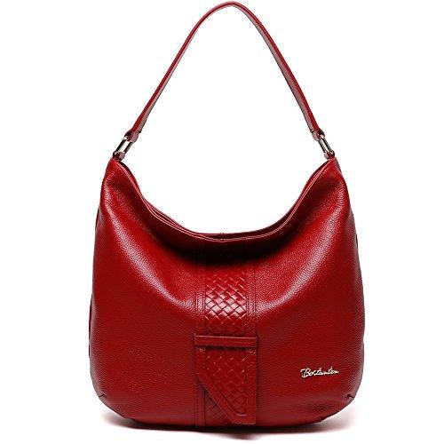 Red Leather Shoulder Bag (BOSTANTEN Women Leather Hobo Handbags Tote Purse Top-handle Shoulder Bag on Sale Red)