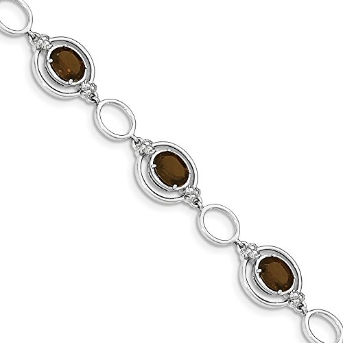 925 Sterling Silver Simulated Smoky Quartz Open Link Bracelet -7.5