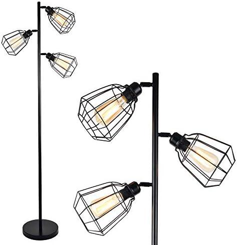 LEONLITE 65inch Track Tree Floor Lamp, 3-Head Torchiere Lamp Fixture, 3 Bulbs Included, Rustic Floor Lamp Industrial Style