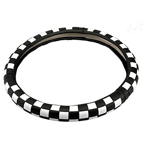 Black Checkered Checkerboard Pattern MINI Steering Wheel Cover 38CM 15inch Rubber For Mini Cooper Countryman Clubman R55 R56 R60