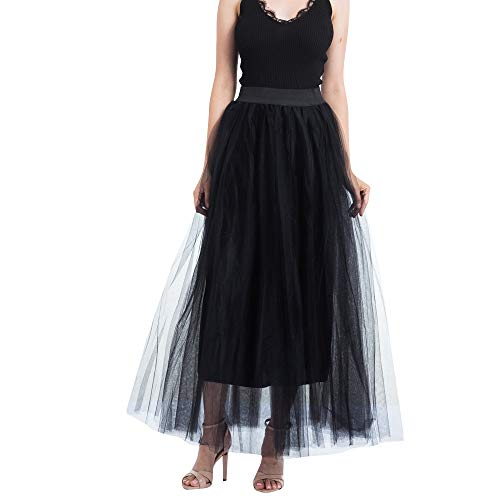 AopnHQ Women's Fashion Mesh Pure Color Pettiskirt Skirt Long Section Princess Mesh Skirt Black -
