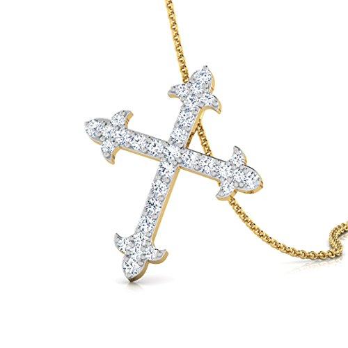 14K Or blanc 0,18CT TW Round-cut-diamond (IJ | SI) Pendentif